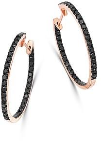 Bloomingdale's Black Diamond Inside-Out Large Hoop Earrings in 14K Rose Gold, 1.35 ct. t.w. - 100% Exclusive