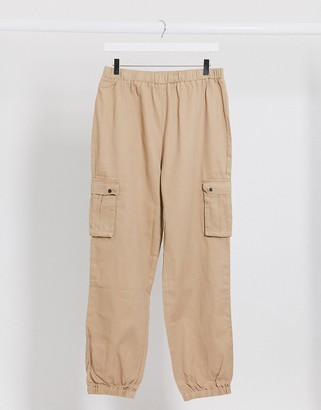 Brave Soul utility pants with elasticated waist in stone