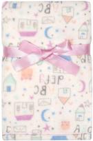 Cutie Pie Baby 30'' x 32'' Cream Houses Velboa Stroller Blanket & Hanger