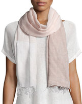 Eileen Fisher Hand-Loomed Mix-Striped Scarf W/Fringe, Opal