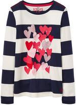Joules Girls Ava Heart Applique Long Sleeve T-shirt