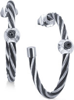 Charriol Women's Fabulous Black Spinel-Accent Two-Tone PVD Stainless Steel Cable Hoop Earrings