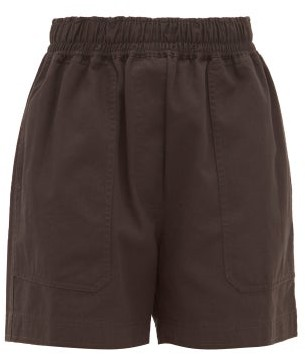 Lee Mathews - Workroom High Rise Organic Cotton Shorts - Womens - Black