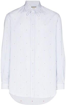 Gucci Logo-Print Striped Cotton Shirt