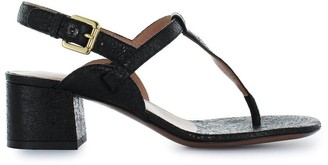 L'Autre Chose Black Crackle Thong Sandal