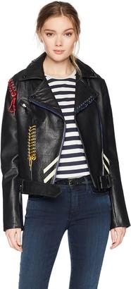 Bagatelle Women's Picasso Textured Leather Biker Jacket