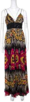 Marchesa Multicolor Ikkat Printed Silk Embellished Sleeveless Maxi Gown S