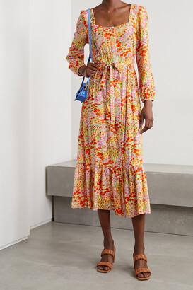 HVN Eva Floral-print Voile Midi Dress - Orange