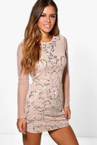 Boohoo Petite Ola Embellished Long Sleeve Bodycon Dress