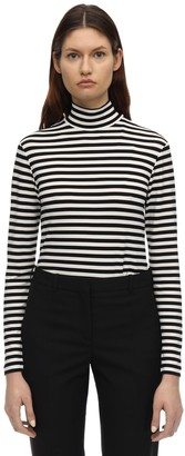 Burberry Striped Crepe Jersey Turtleneck Top