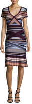 Herve Leger Short-Sleeve Ikat-Print Flounce Dress, Multi Colors