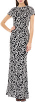 Carmen Marc Valvo Scroll Motif Embroidered Cap-Sleeve Column Gown