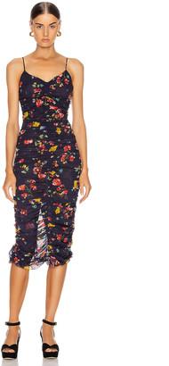 Nicholas Gathered Slip Dress in Midnight Multi   FWRD