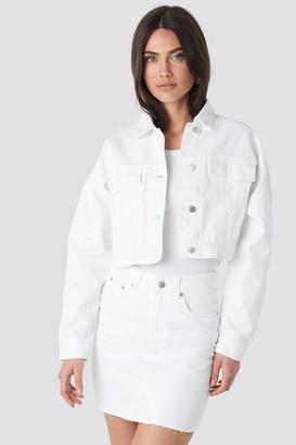 NA-KD Cropped Regular Hem Denim jacket Blue