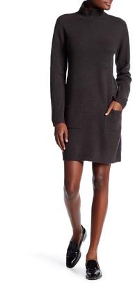 Max Studio Mock Neck Long Sleeve Patch Pocket Sweater Dress