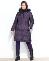 London Fog Plus Size Coat, Knee-Length Hooded Puffer