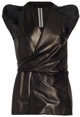 Rick Owens Sleeveless Leather Wrap Jacket