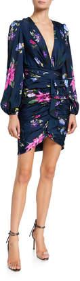 Jill Stuart Ruched V-Neck Print Mini Dress
