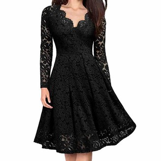 LEXUPE Women Comfortable Sexy Dresses Casual Fashion Summer Skirts Ladies V-Neck Off Shoulder Lace Formal Evening Party Dress Long Sleeve Dress(Black XL)