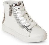 Steve Madden Kids Girls) White Peach High Top Sneakers