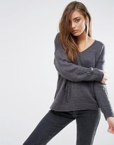Asos Boxy Sweater With Ladder Detail and V Neck