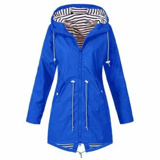 Mingger Women's Solid Rain Jacket Outdoor Waterproof Hooded Raincoat Windproof and Anti-mite Coat Gray