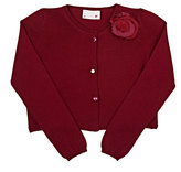 Lanvin FLOWER-APPLIQUÉD WOOL CARDIGAN-BURGUNDY SIZE 10