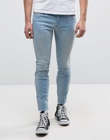 Diesel Stickker Super Skinny Jean 084ec Light Wash Raw Hem Distressed