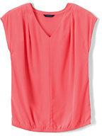 Lands' End Women's Plus Short Sleeve Textured Dot Pintuck Soft Blouse-Clear Coral