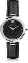 Versace Idyia Decagonal Black and Silver Women's Watch w/Greek Engraving