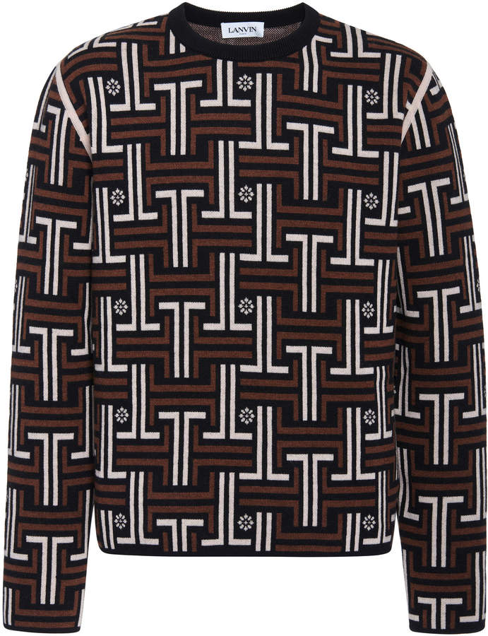 Lanvin JL Labyrinth Jacquard Knit Sweater
