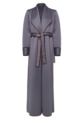 Serrb Neoprene Robe With Suede Piping & Belt- Wall Grey