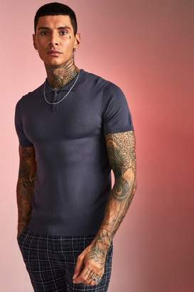 boohoo Fine Knit Polo With Short Sleeves