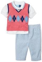 Good Lad Newborn Boys) 3-Piece Coral Vest & Blue Seersucker Pants Set