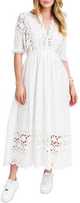 Belle & Bloom All Eyes On You White Midi Dress