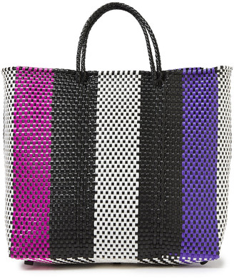 Truss Medium Striped Woven Raffia-effect Tote