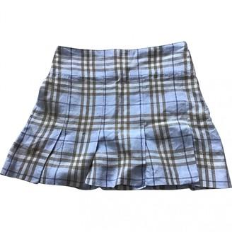 Burberry Blue Linen Skirt for Women