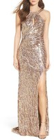 Mac Duggal Women's Sequin Cowl Back Gown