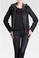 Doma Ashley Moto Jacket with Hood in Black as Seen On Ashley Benson