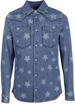Valentino Light Blue Star Printed Denim Shirt