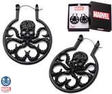 Marvel Women's Stainless Steel Black IP & Black Gem Hydra with Precison Set Black Cubic Zirconia Hoop Earrings