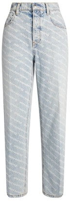 Alexander Wang Logo Print Straight Jeans