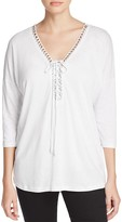 Cupio Embellished Lace-Up Top