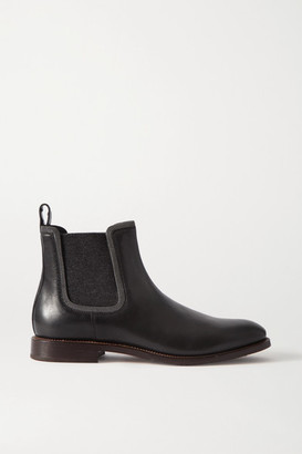 Brunello Cucinelli Bead-embellished Cashmere-trimmed Leather Chelsea Boots - Black