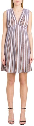 M Missoni Ribbed Lurex Knit Dress With Empire Waist