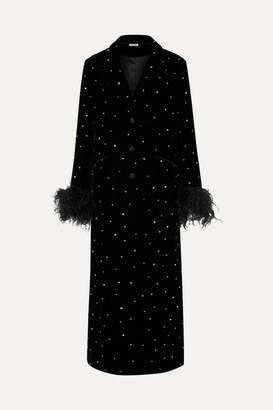 Miu Miu Feather And Silk Satin-trimmed Crystal-embellished Velvet Coat - Black
