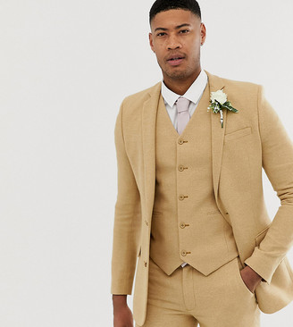 ASOS DESIGN Tall wedding super skinny suit jacket in stone micro check