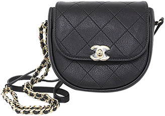 Chanel Black Calf Leather Mini Half Moon Chain Shoulder Bag