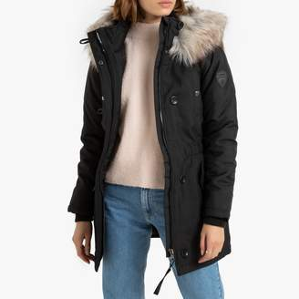 Only Long Parka Jacket with Faux Fur Hood and Pockets