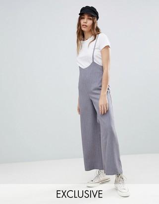 Reclaimed Vintage Inspired Pinstripe Crop Pants With Suspenders